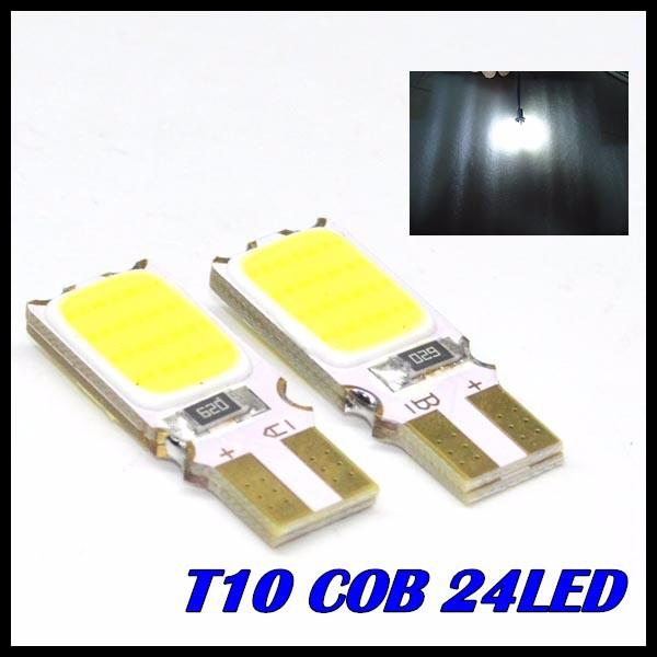 10pcs 12V W5W T10 5W LED COB High Power W16W T10 COB 24Led car light source stop turn signal brake Parking Reverse Bulb Lamp(China (Mainland))