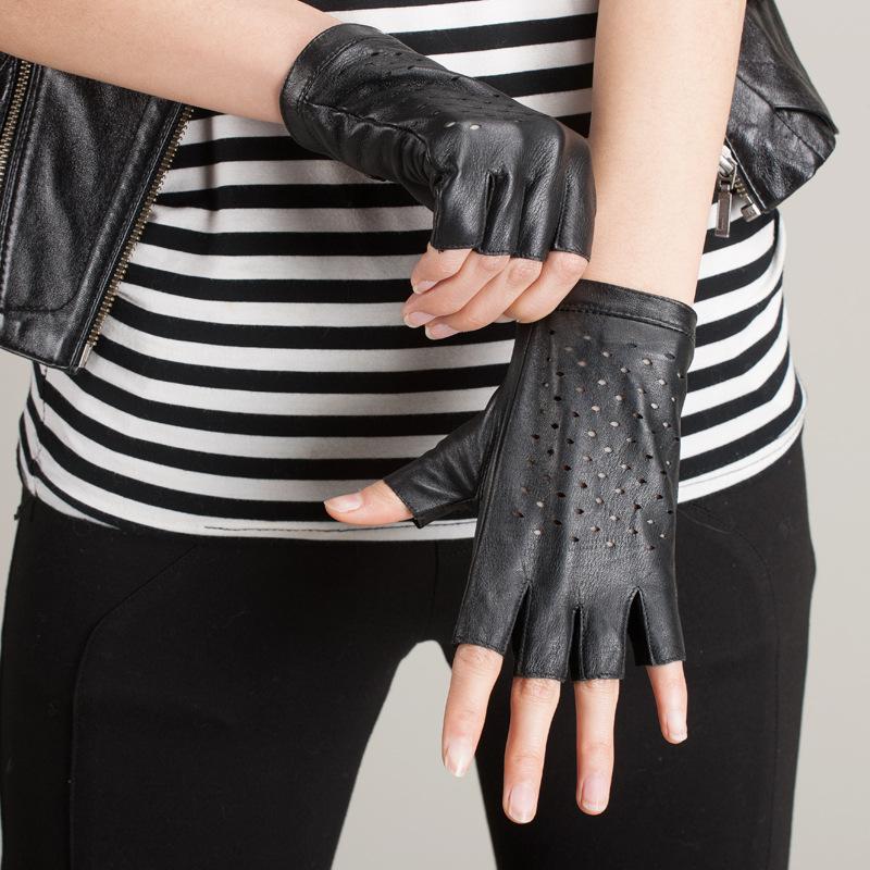 Online kopen Wholesale bruin vingerloze lederen handschoenen uit China bruin vingerloze lederen
