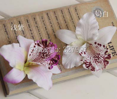 Fashion artificial silk orchid flower brooches wedding decoration brooch DIY flower hairpin 25pcs/lot free shipping(China (Mainland))