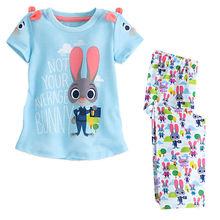 Zootopia Kids Girls Clothing Set 2Pcs Short Sleeve Cotton Outfits Set T shirt Tops + Long Pants(China (Mainland))