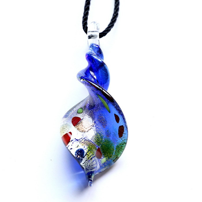 2015 New Murano Lampwork Art Glass 5 colors foil Distorted fringe 3D point Women's Pendant Mixed Colors for Necklace(China (Mainland))