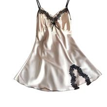 Дамы Сексуальный Атласный Шелк Ночь Платье Без Рукавов Ночные Рубашки V-образным Вырезом Ночной Рубашке Плюс Размер Ночная Рубашка Кружева Пижамы Пижамы Для Женщин(China (Mainland))