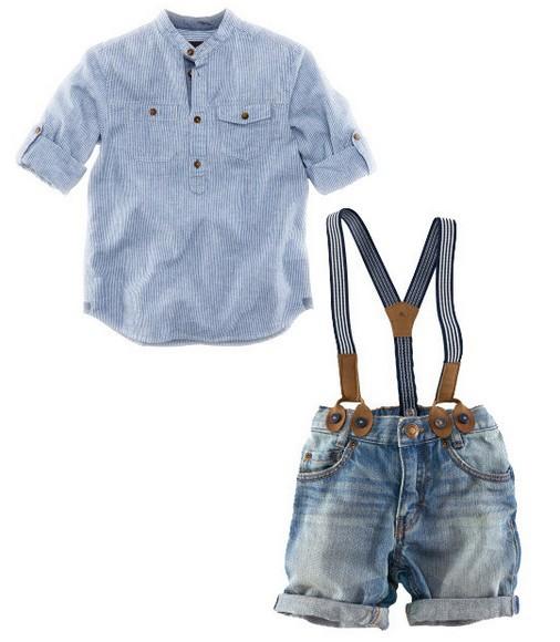 6sets/lot 2013 new design shirt + suspender jeans boys clothing suits summer wear ZZ0870(Hong Kong)