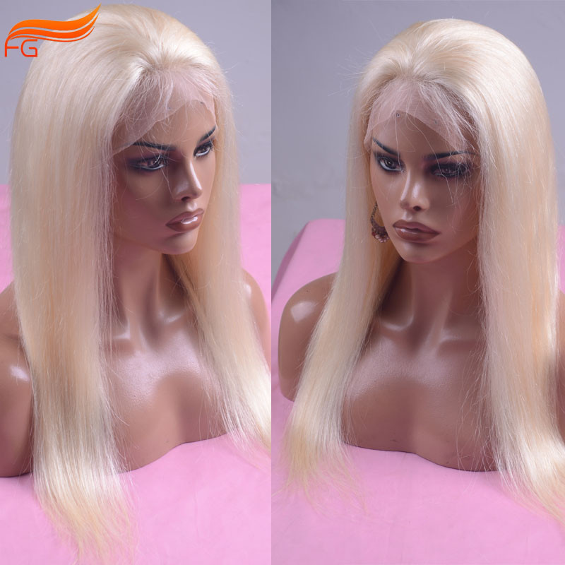 100% Virgin Hair Platinum Blonde Human Hair Full Lace Wig Lace Front Wig Glueless Straight Lace Wig For White Women