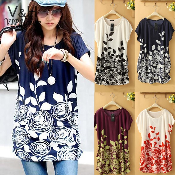 Wholesales 2014 Fashion New Summer Women Dress Casual Loose Floral Plus Size Tunic Dress Flower Printed Dress 4 Color 12(China (Mainland))