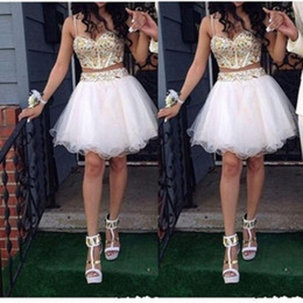 Sexy Tull Beaded Mini Short White Two Pieces Rhinestone Homecoming Dresses 2015 Sweetheart Spaghetti Strap Backless Party Gowns - ETDRESS Store store