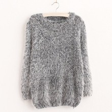 Women Fashion Autumn Winter Warm Mohair O-Neck Women Pullover Long Sleeve Casual Loose Sweater Knitted Tops(China (Mainland))