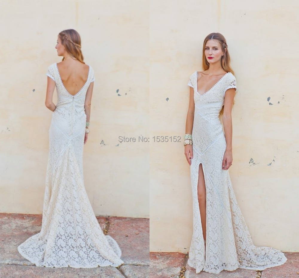 Vestidos charming casual wedding dress anne mariee lace for Casual lace wedding dress