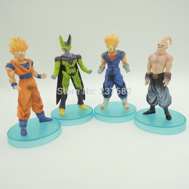 New 4pcs/set 12cm dragon ball z toy dragonball z dbz Cell Freeza SSJ Goku action figure kids/adult toy for christmas gift(China (Mainland))
