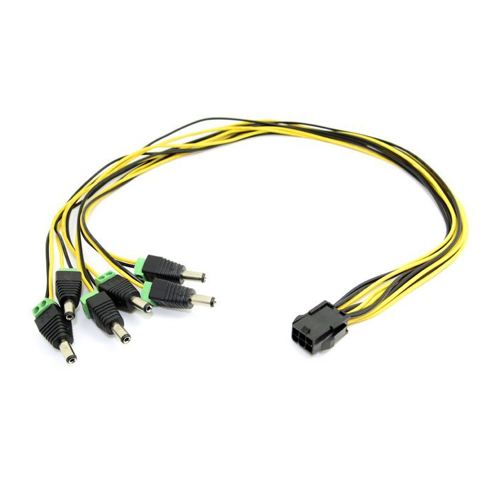 50pcs / lots ATX PCI-E Express 6pin to 6pcs DC 5.5X2.1mm Plugs of Gridseed Mini 60cm ,By  UPS DHL<br><br>Aliexpress