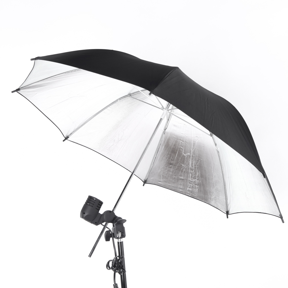 NEW 83cm 33in Studio Photo Strobe Flash Light Reflector Umbrella Black Silver(China (Mainland))