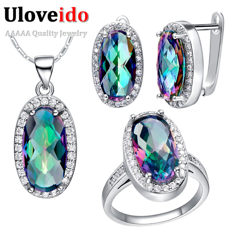 Uloveido 49% off CZ Diamond Jewelry Set Ring Necklace Earring Women Girl Colorful Crystal Silver Jewellery Set T482(China (Mainland))