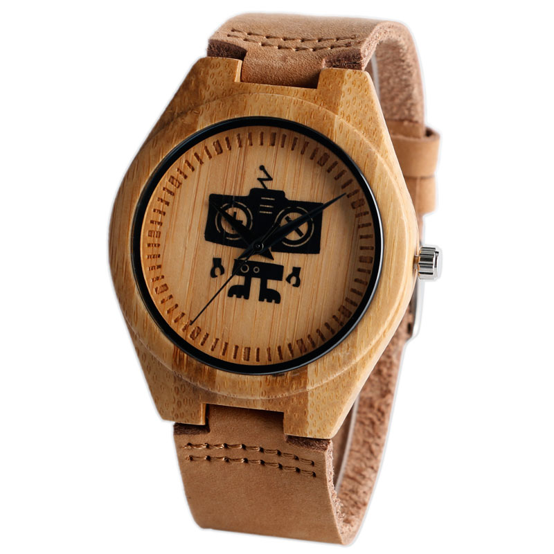 New Cute Cool Robert Pattern Bamboo Wooden Wristwatches Simple Dial Genuine Leather Wood Boy's Watch Unisex Christmas Gifts(China (Mainland))