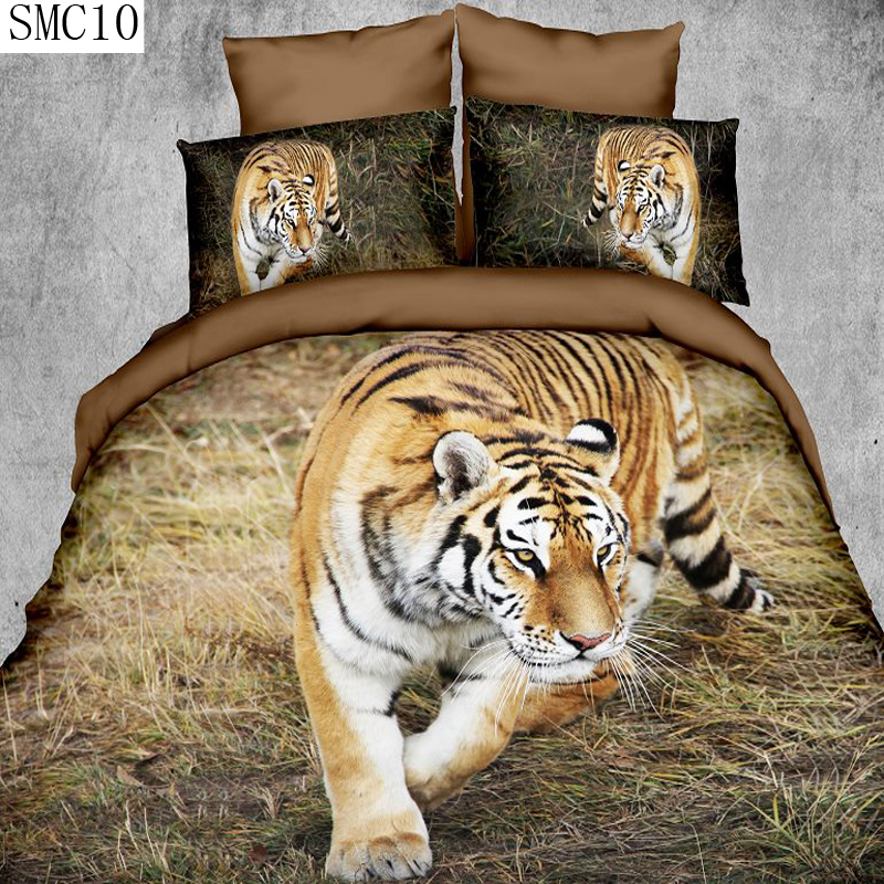 high definition lion tiger leopard pattern design 3d series bedding set queen size include pillowcase duvet cover bed sheet(China (Mainland))