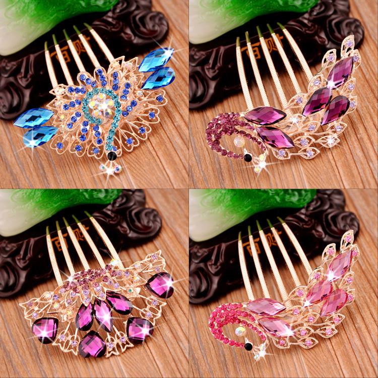 """Buy 3 Get 1 Free""Hair Jewelry flower hairpin crystal diamond tiara hair female Korean tide comb hair comb plug hairpin Hair(China (Mainland))"