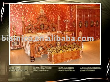 Luxury Italy style gold plated antique bedroom furniture set,king size bed,night stand, stool, 4 door wardrobe(China (Mainland))