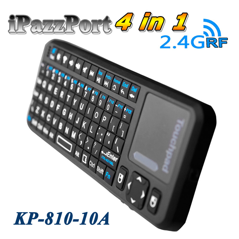 iPazzport 2.4G Mini Wireless QWERTY Gaming Keyboard Touchpad Fly Air Mouse LED Handheld Remote Control for Windows PC Smart TV(China (Mainland))