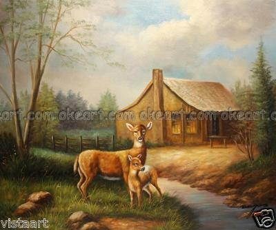 Animal decoration Deers Bathroom background High quality oil paintings on canvas free shipping Modern Art Deco(China (Mainland))