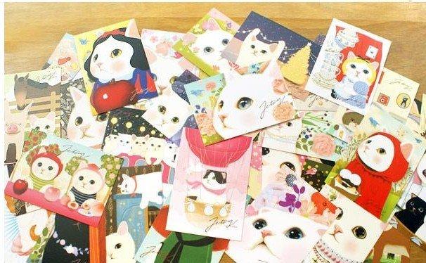 Freeshipping!Wholesale,New Fashion Cute Creative Cartoon Cat Postcard/Birthday Card/Greeting Card/Gift Card/Christmas Card<br><br>Aliexpress