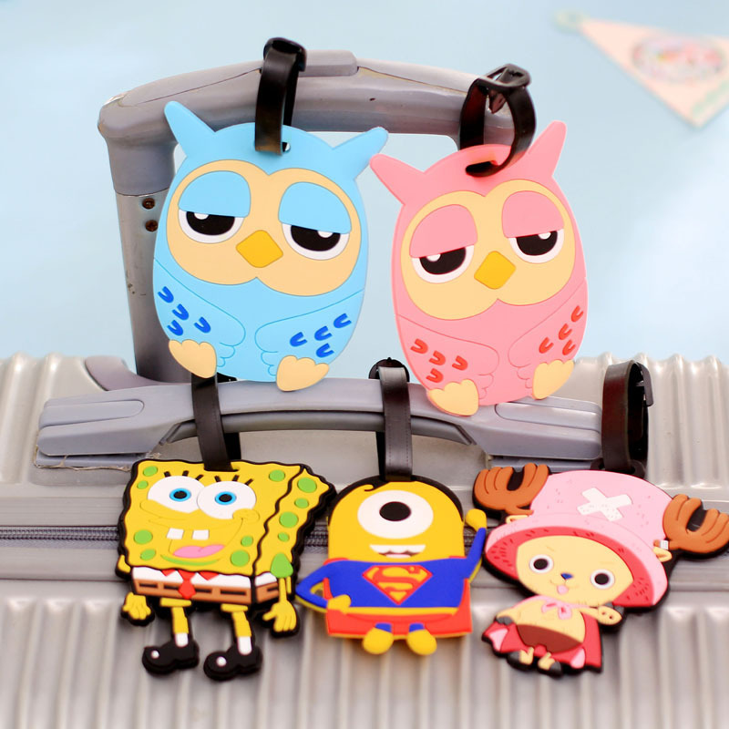 Korean Cartoon Luggage Tag Luggage Silicone Creative Boarding Card Sets Abroad Small Cute Travel Accessories Free Shipping(China (Mainland))