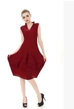 FREE SHIPPING Pleated pleated series fashion sleeveless solid color lamp dress  IN STOCK