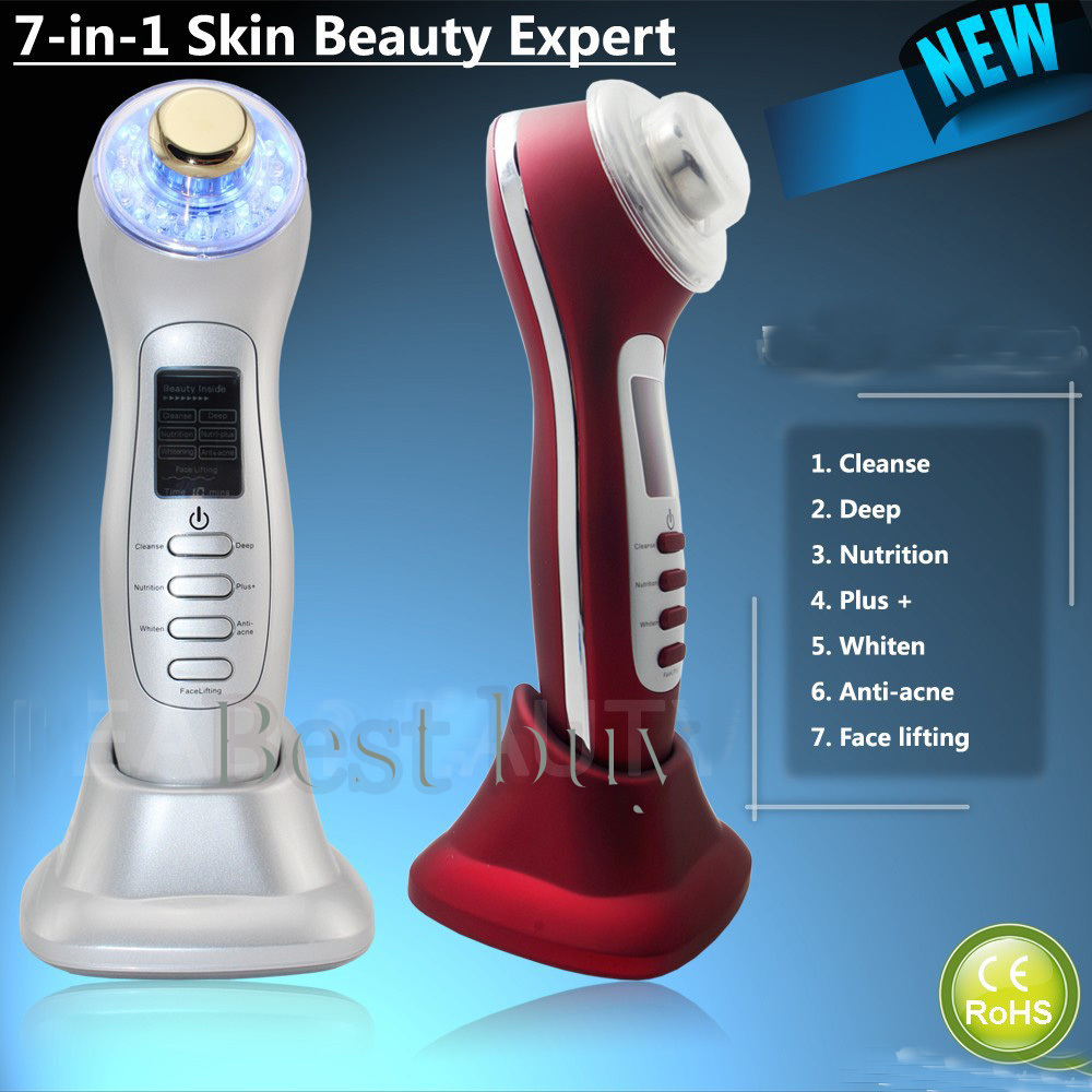 Free Shipping Portable Home Use High Frequency 3MHZ Ultrasonic Waves Led Light Photon Therapy Skin Care Machine(China (Mainland))