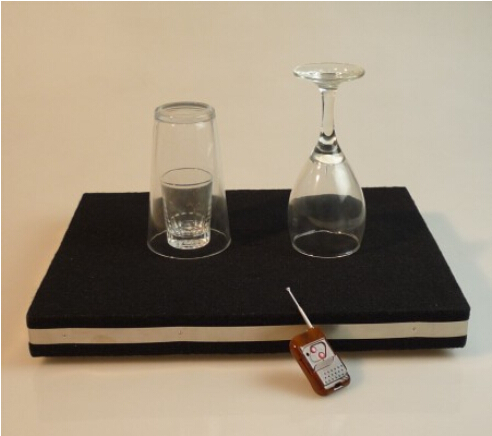 Remote control glass breaking table and coin into glass for Table 6 trick