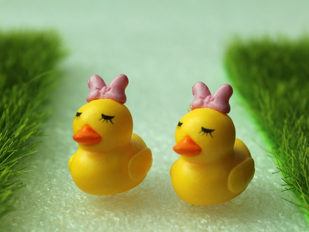2pcs Cute Duck Yellow Miniatures Fairy Garden Decorations Crafts Bonsai Figurine Mini Gnome Moss Animals Garden Home Toys Gifts(China (Mainland))