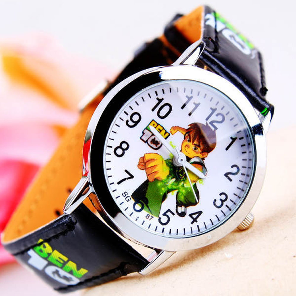 2016 Cartoon Ben 10 Watches Fashion Children Boys Kids Students Ben 10 PU Leather Sports Watches Analog Wristwatch(China (Mainland))
