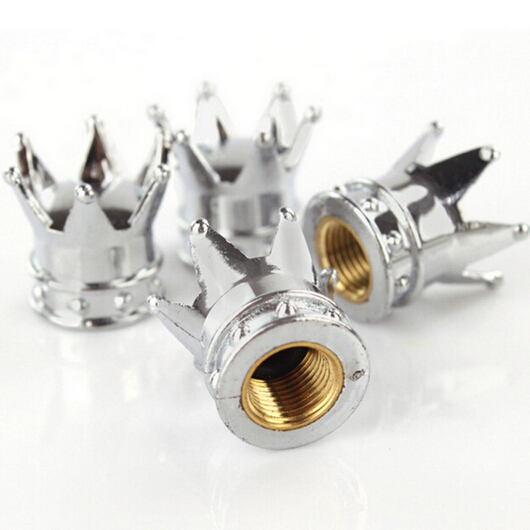 4 Pcs Lot Car Truck Motocycle Bike Crown Shaped Tire Wheel Stem Air Valve Cap High