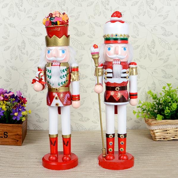 Здесь можно купить  Free shipping Movable doll puppets 38cm Candy kingdom King Nutcracker puppet Christmas gift, pure hand-painted wood toy 2pcs/lot  Игрушки и Хобби