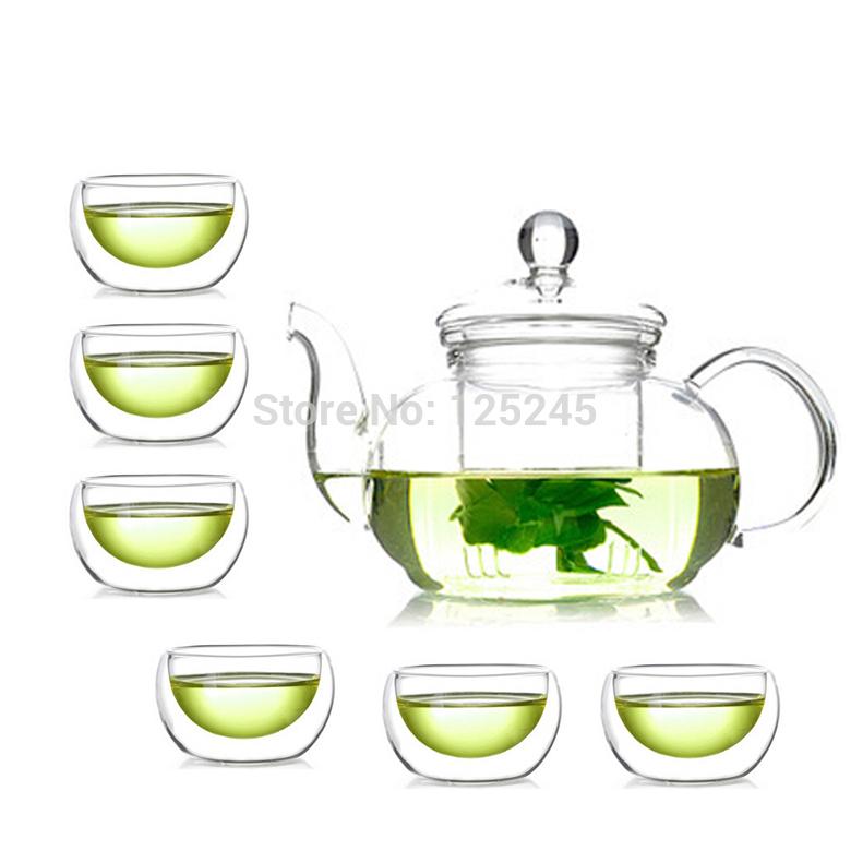 1 heat reistant glass teapot 600ml 6 double wall glass tea cups 7pcs set coffee tea