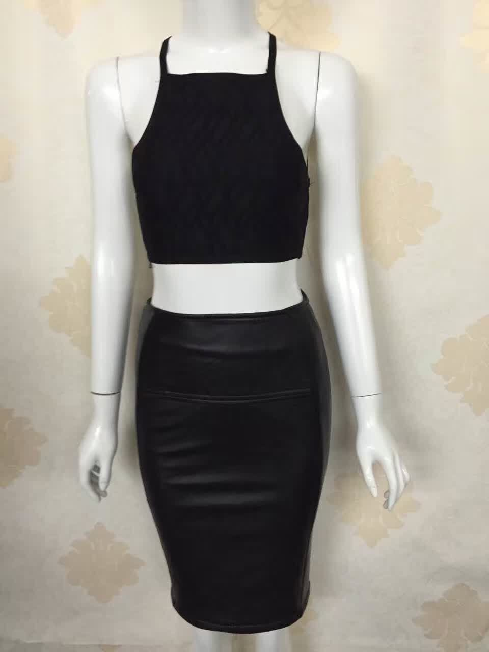 Top Quality Celebrity 2 Pieces Set Black Rayon Bandage Leather Dress Evening Party Bodycon Dress