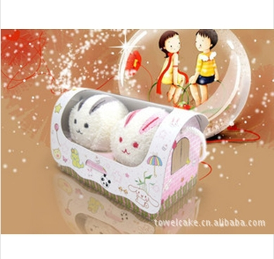 {minimum order is $10}lovers cartoon towel, cake towel ,advertising gift towel ,small animal rabbit towels(China (Mainland))