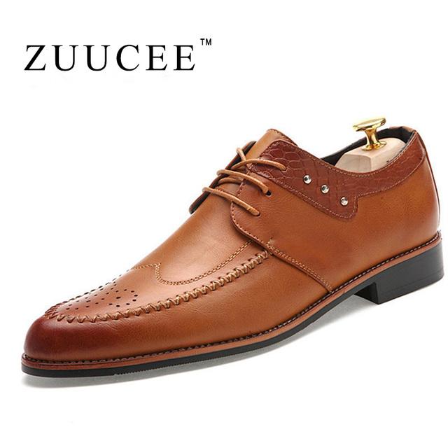 Zuucee оксфорды обувь для мужчин осень зима баллок свободного покроя мода острым ...