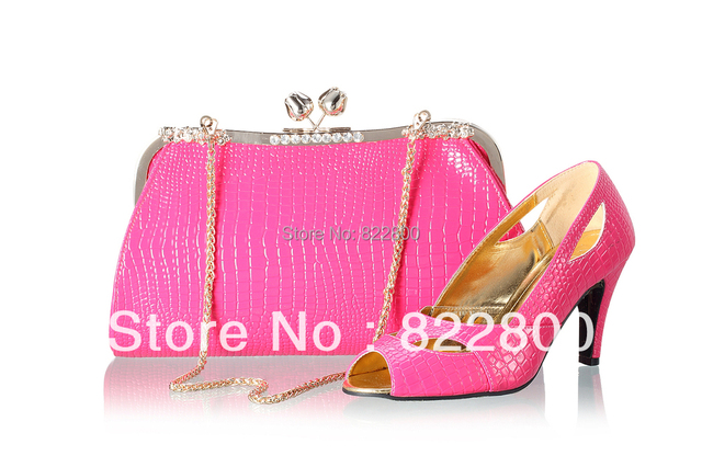 free shipping new design fuchsia pink color matching shoes