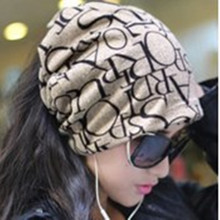 Newest Fashion Korean Women Classic Hip-Hop English Letter Multi Purpose Baggy Hat Unisex Scarf Beanie Spring Hat(China (Mainland))