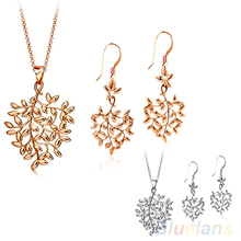 Sumptuous Women's Fashion 9K Gold Plated Tree Leaf Design Necklace Earrings Jewelry Set 7E8G