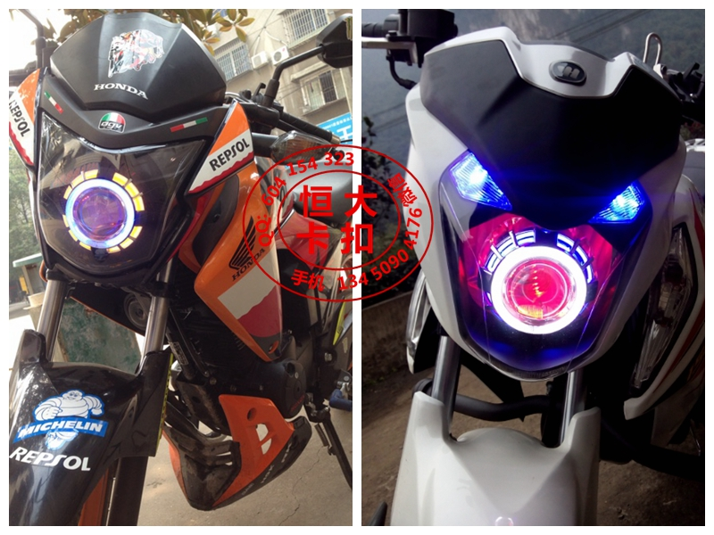 Illusiveness x150 Ares motorcycle bifocal lens angel and evil eye 3.5or 4 inch lens assembly total (red greem white color)(China (Mainland))