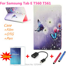 For samsung with diamond stand Leather case cover capa para for Samsung Galaxy Tab E 9.6 T560 T561 Tablet  case+pen+Film+OTG