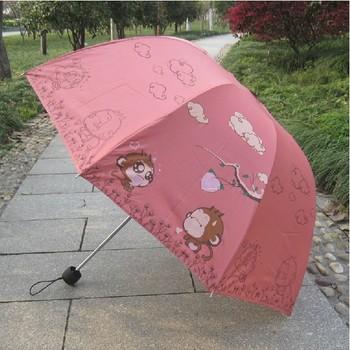2015 Cartoon patter umbrella elargol coating monkey three folding sunshade rain or sun protection kid's umbrella Free shipping!