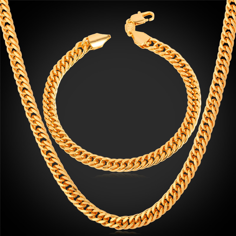 Dubai Gold Plated Jewelry Set For Men Trendy Cuban link chain bracelet necklace set African Ethiopian Jewelry 18K Gold S709(China (Mainland))