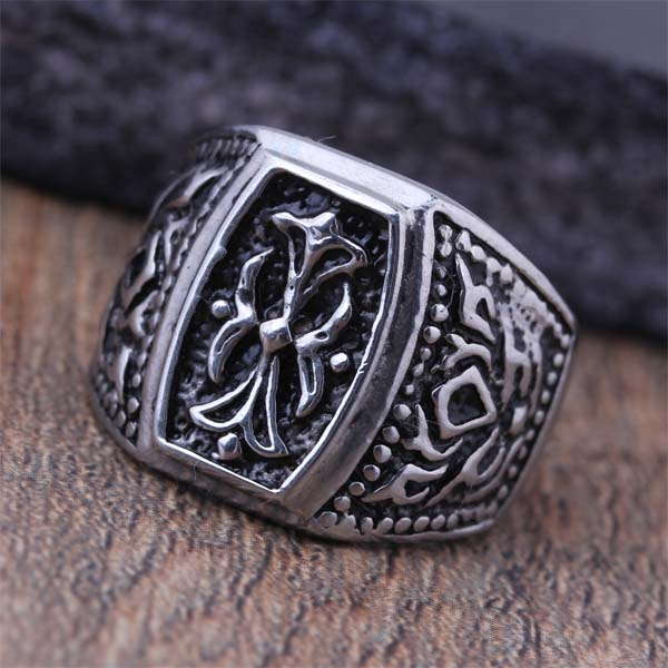 2016 New Titanium Steel Fashion Flower Cross Biker Finger Rings For Men Classic Punk Band Jewelry Birthday Hift Size 8-12 (A409)(China (Mainland))