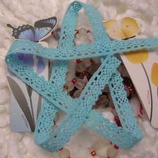 Wholesale 1.4 cm lace trim,Christmas DIY craft,DIY clothing accessories,sky blue cotton lace,color cotton lace,lace manufacturer(China (Mainland))