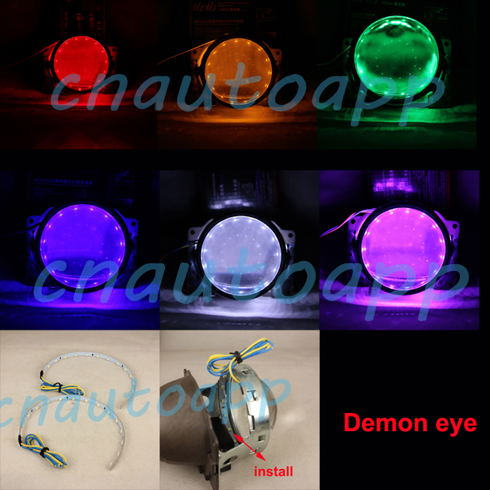 Demon Eye Led Light  360 Degree Devil Eyes For 3 / 2.5 Inch Car Headlight Projector Lens / Motorcycle HID Xenon Projector Lens <br><br>Aliexpress