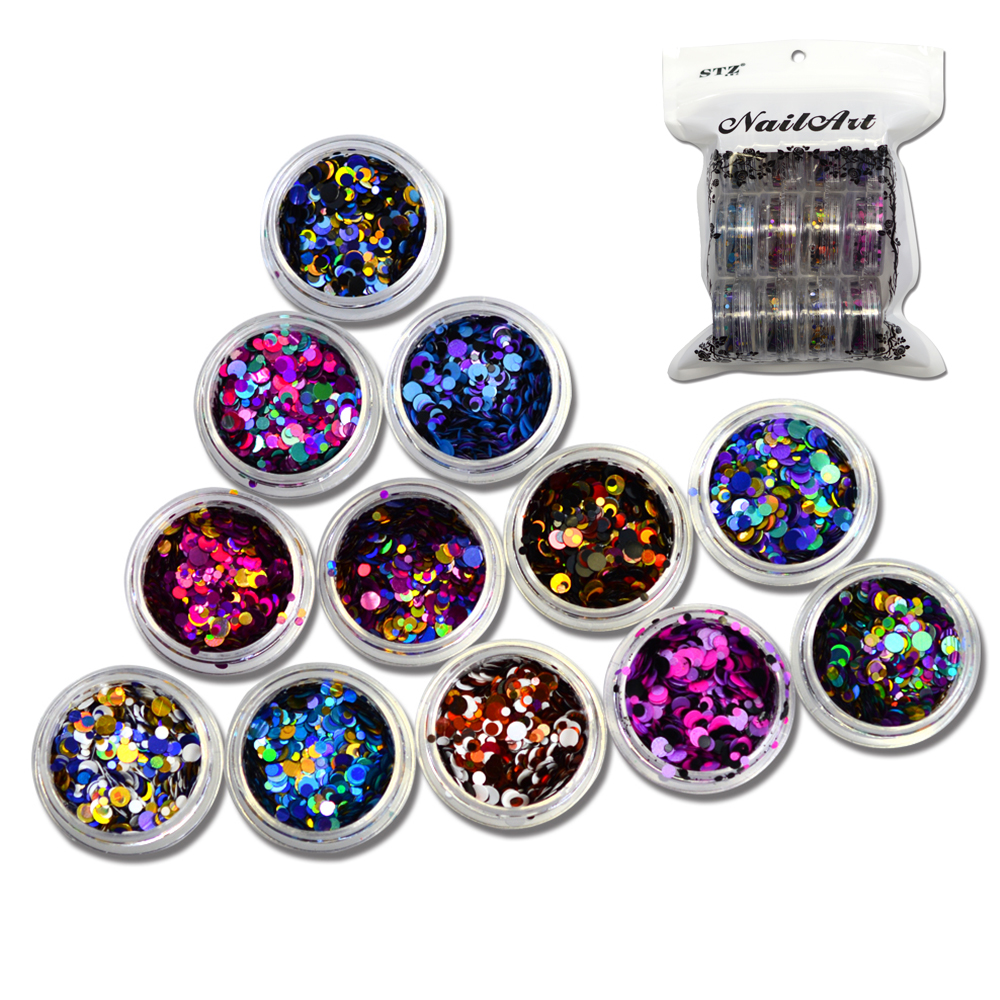 12 bottles/set Round Nail Glitter Mixed 1/2/3mm Round Ultrathin Sequins Nail Art Decoration Deep Colors For DIY Accessories C12
