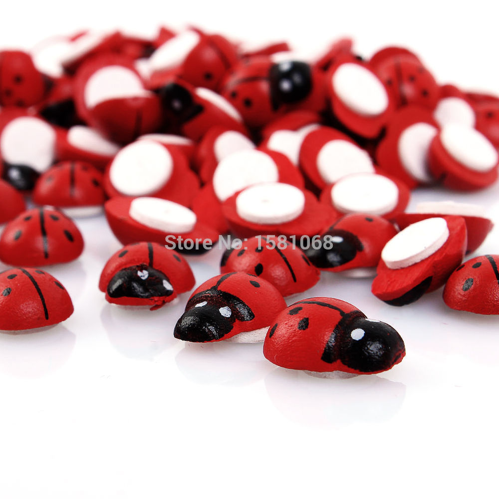 100PCS Baby Toys Wall Stickers Wooden Ladybug Sponge Easter Home Decoration 3D Wall Sticker Scrapbooking Craft red(China (Mainland))