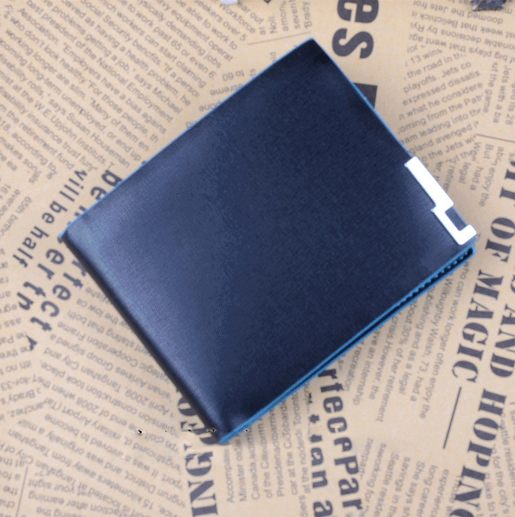 New Stylish Wholesale New Design PU Leather Men Wallets High Quality PU Short Blue Purse PU Leather(China (Mainland))