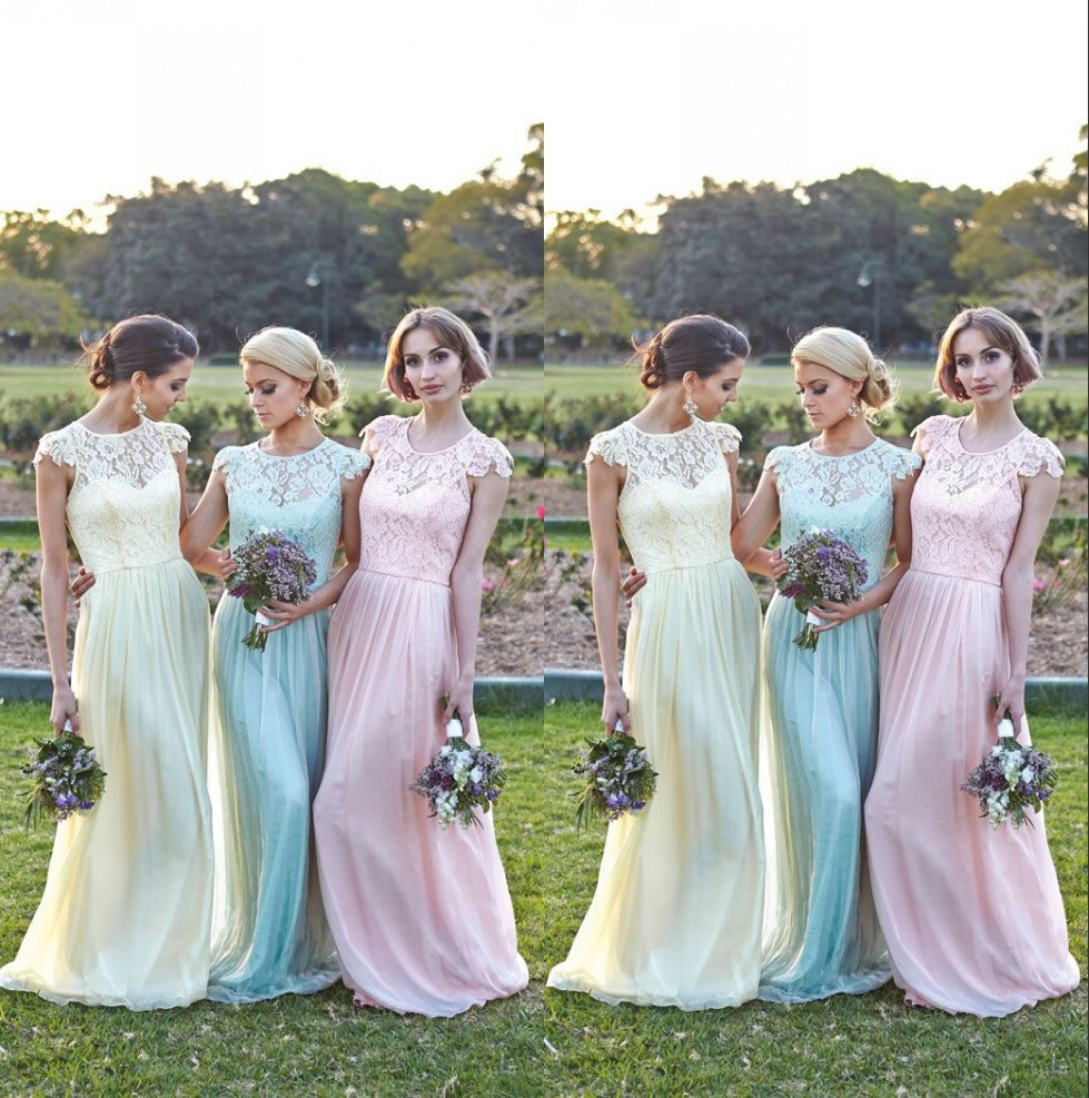 Lace short sleeves bridesmaid gown navy blue peach ivory for Ivory and silver wedding dress