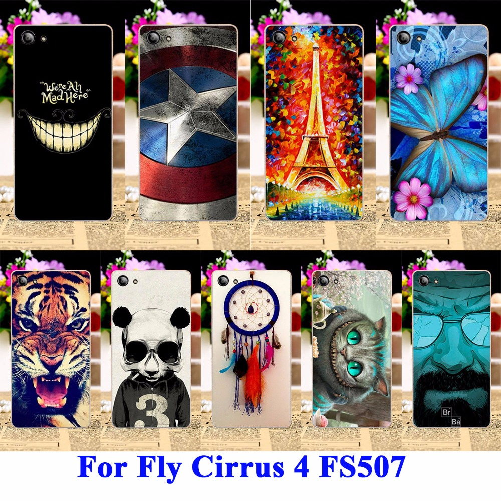 Soft TPU & Hard PC Cell Phone Cases For Fly Cirrus 4 Covers FS507 Housing Bags Skin Cool Captain American Painted Shell Hood(China (Mainland))